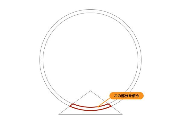 外枠、内枠、三角を分割して扇形の部分を取り出しますよ。