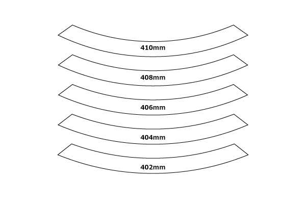 実際のリムと合わせるために大きさを変えた外枠を用意してプリント。